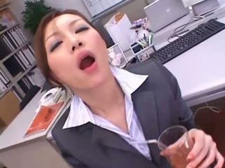 Classy Asian secretary drinks huge jizz load from a cup