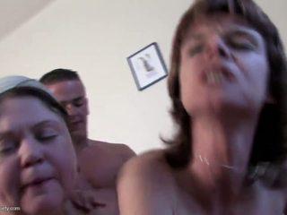 Mature moms having big fun with lucky boy