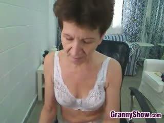 Skinny Grandmother Dancing In Her Room