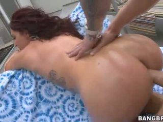 Brunette Babe with Huge Ass Poolside Anal