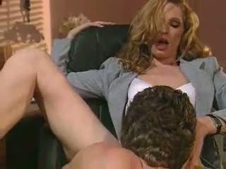 Horny secretary Hannah Hunter slurps a long stiff cock like a monster noodle
