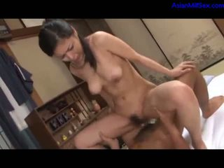 Milf Getting Her Hairy Pussy Fucked In Doggy By Young Guy Cum To Ass On The Mattress In The Room