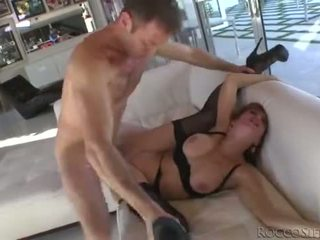 Aunt in stockings fucks avidly in ass