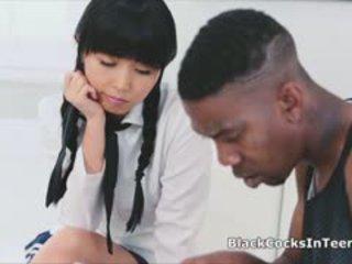 Japanese Teen Sucks Big Black Cock