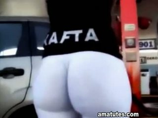 Argentina Girl At Gas Station