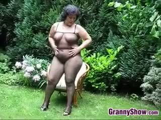 Thick Granny Masturbates With A Dildo Outside