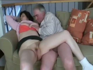 Old mommy rubbing and sucking a hard Cock