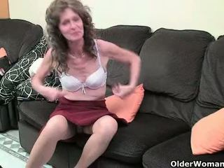 British grandma Vikki with her saggy tits finger fucks her hairy cunt