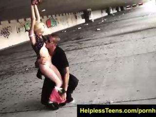 HelplessTeens.com Piper Perri begs for ride gets rough outdoor bondage