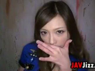 Sexy Asian Prison Guard Swallows Cum