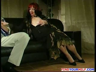 Amateur fatty cougar likes young cock