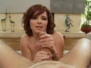Amanda Blue gives a nasty handjob on a hard meat cock