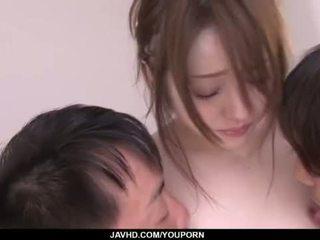 Ria Sakurai is close to a massive threesome porn show