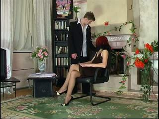 Russian Pantyhose Redhead Blowjob and Pantyhose Fuck...