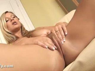 Closeup action of blonde