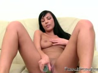 Smoking Hot Brunette Fils Her Pussy With Dildo