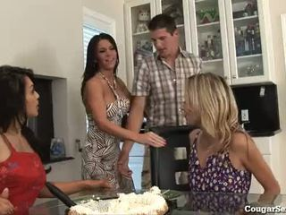 3 Hot MILFs Gang Bang The Bag Boy!