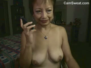 Horny Asian Granny Masturbating