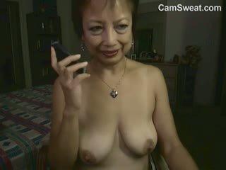 Horny Asian Granny Masturbating