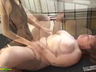 Oldnanny Chubby Busty Granny Masturbate with Strapon and