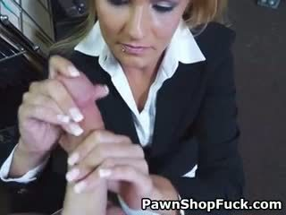 Hot Blonde MILF Sucking Dick For Cash In Back Of Pawn Shop