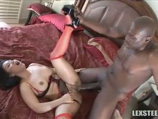 Dark haired asian babe gets stretched by black monster knob