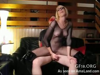 Milf In Fishnet Does Revers Cowgirl With Sex Slave