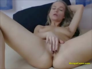 Slim Sexy Chick Fingering Her Tight Pussy Up Close
