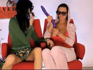 Horny lesbians double headed dildo fun