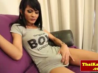 Thick cocked ladyboy displays her butthole