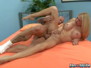 Blonde Wife Sucks Big Cock into Her Mouth and Pussy in
