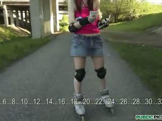 Roller skate skank payed public fucking
