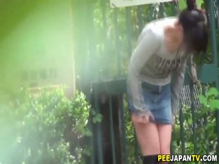 Asian hottie pee squats