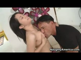 Asian babe with small titties gives blowjob to hard pecker