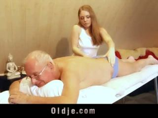 """Old man fucks young blonde masseuse cums in her mouth <span class=""""duration"""">- 6 min</span>"""