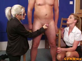 British CFNM Femdom Jerking Cock in Office: Free HD Porn 5f