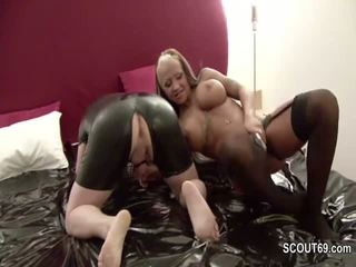 Femdom - Petite Girl fuck him with Strapon and piss in face