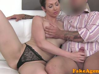 FakeAgent Big tits Australian sucks and fucks on casting couch for job