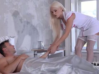 Ultra sexy maid and nurse give their patient a double footjob and fuck