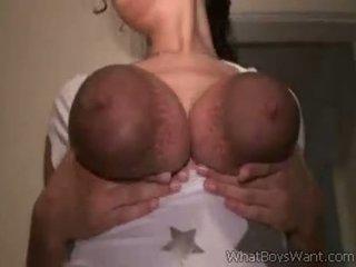 White Chick Milking Her Big Black Tits