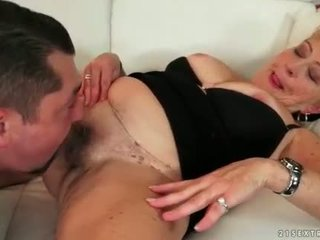 Fat grandma enjoying hot sex on the couch