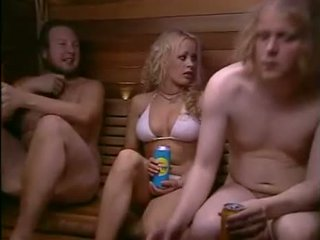 Slut And 2 Naked Studs In The Sauna