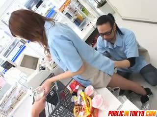 Rika Aina Gets Vibrator In Slit At Shop