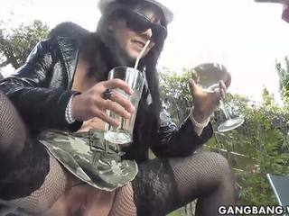 Slutwife drinks a glass full of pee