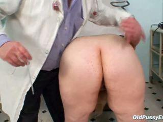 Horny blonde mature lady at gyno exam