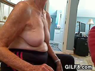 Blonde Granny Gives A Blowjob