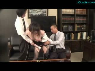 Secretary With Tied Legs Stimualted With Toys Giving Blowjobs Mouth Fucked By Her Bosses On The Couch In The Office