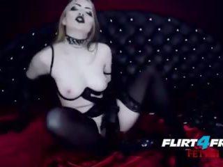 Sexy Gothic Babe Fucks Herself in Latex BDSM