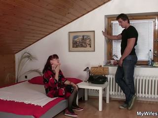 Brunette Mom-in-law in Stockings Riding after Toying...