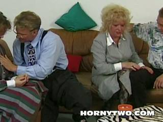 Old N Young Threesome with Two Grannies Fucking Young